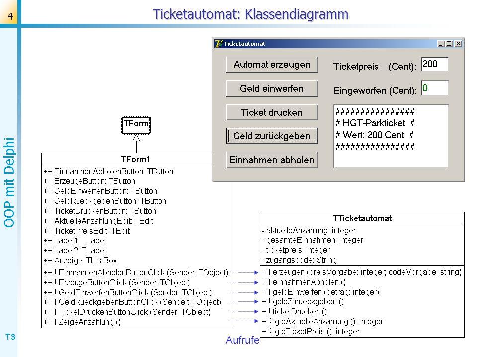 TS OOP mit Delphi 5 Ticketautomat: Beziehung? Aufrufe GUI-Klasse Fach-Klasse Beziehung?