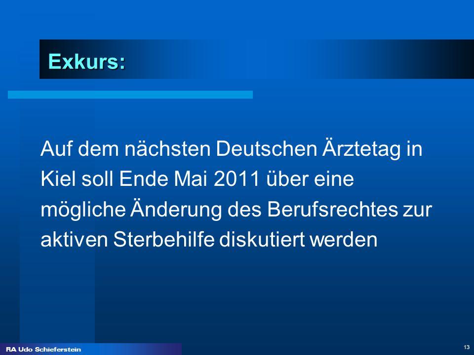 RA Udo Schieferstein 13 Exkurs: Auf dem nächsten Deutschen Ärztetag in Kiel soll Ende Mai 2011 über eine mögliche Änderung des Berufsrechtes zur aktiv