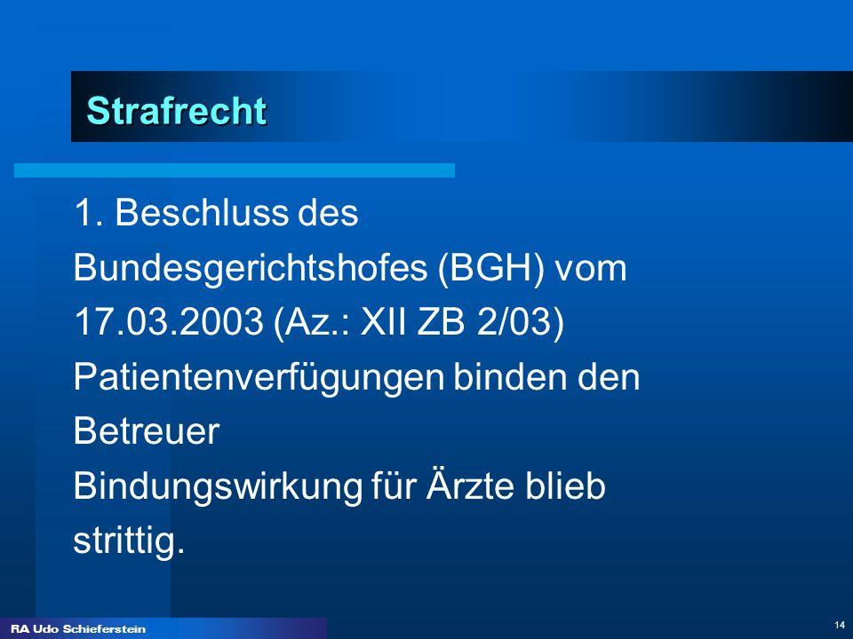 RA Udo Schieferstein 14 Strafrecht 1. Beschluss des Bundesgerichtshofes (BGH) vom 17.03.2003 (Az.: XII ZB 2/03) Patientenverfügungen binden den Betreu