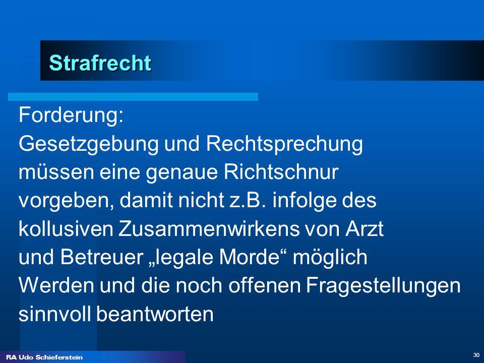 RA Udo Schieferstein 30 Strafrecht Forderung: Gesetzgebung und Rechtsprechung müssen eine genaue Richtschnur vorgeben, damit nicht z.B. infolge des ko