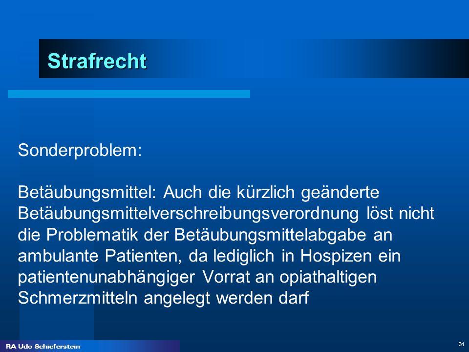 RA Udo Schieferstein 31 Strafrecht Sonderproblem: Betäubungsmittel: Auch die kürzlich geänderte Betäubungsmittelverschreibungsverordnung löst nicht di