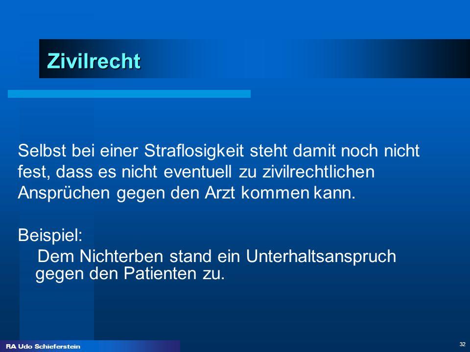 RA Udo Schieferstein 32 Zivilrecht Selbst bei einer Straflosigkeit steht damit noch nicht fest, dass es nicht eventuell zu zivilrechtlichen Ansprüchen