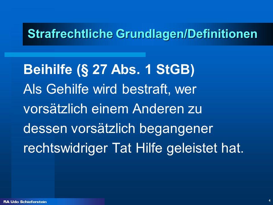 RA Udo Schieferstein 4 Strafrechtliche Grundlagen/Definitionen Strafrechtliche Grundlagen/Definitionen Beihilfe (§ 27 Abs. 1 StGB) Als Gehilfe wird be