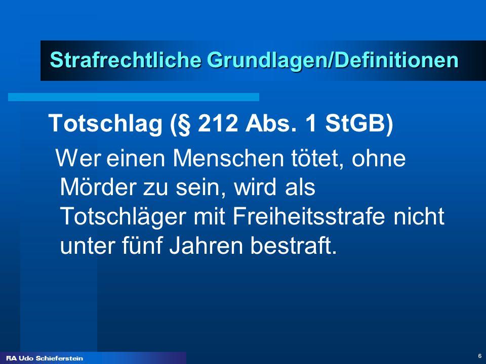 RA Udo Schieferstein 6 Strafrechtliche Grundlagen/Definitionen Totschlag (§ 212 Abs. 1 StGB) Wer einen Menschen tötet, ohne Mörder zu sein, wird als T