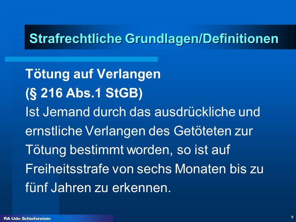 RA Udo Schieferstein 9 Strafrechtliche Grundlagen/Definitionen Tötung auf Verlangen (§ 216 Abs.1 StGB) Ist Jemand durch das ausdrückliche und ernstlic