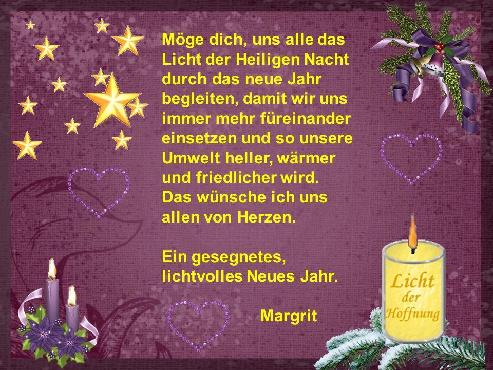 Möge dich, uns alle das Licht der Heiligen Nacht durch das neue Jahr begleiten, damit wir uns immer mehr füreinander einsetzen und so unsere Umwelt heller, wärmer und friedlicher wird.