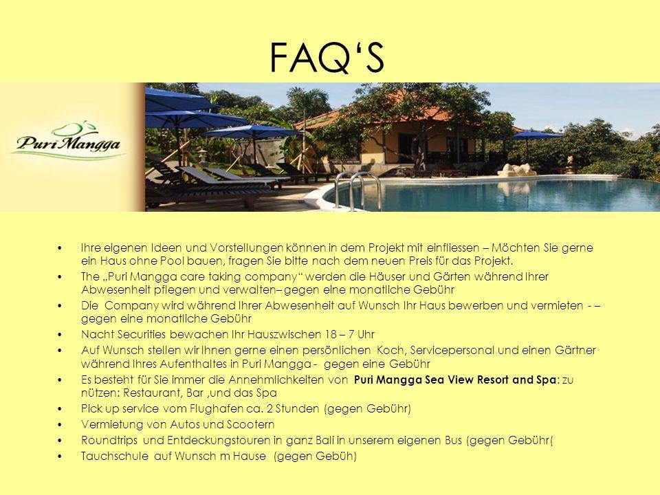 FAQS Ihre eigenen Ideen und Vorstellungen können in dem Projekt mit einfliessen – Möchten Sie gerne ein Haus ohne Pool bauen, fragen Sie bitte nach de
