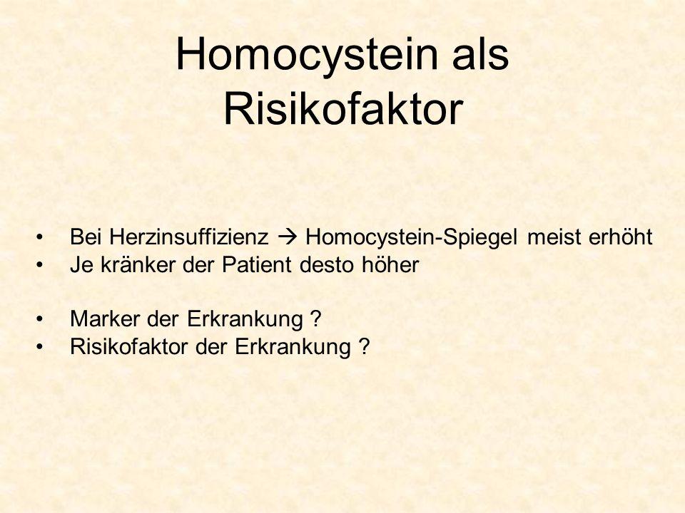 Homocystein als Risikofaktor Bei Herzinsuffizienz Homocystein-Spiegel meist erhöht Je kränker der Patient desto höher Marker der Erkrankung ? Risikofa