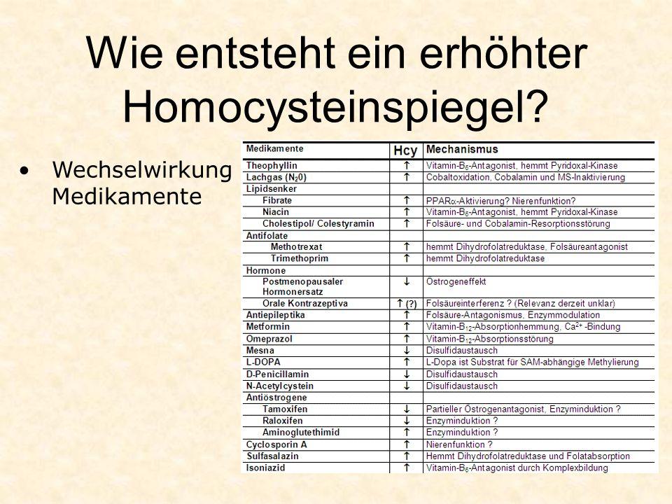 Wie entsteht ein erhöhter Homocysteinspiegel? Wechselwirkung Medikamente
