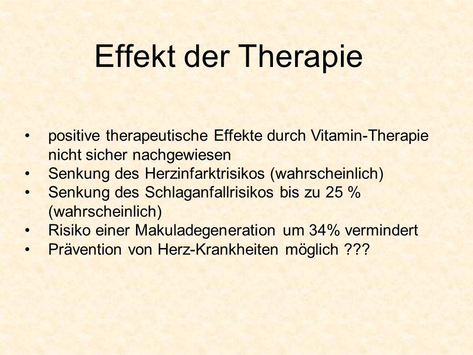 Effekt der Therapie positive therapeutische Effekte durch Vitamin-Therapie nicht sicher nachgewiesen Senkung des Herzinfarktrisikos (wahrscheinlich) S