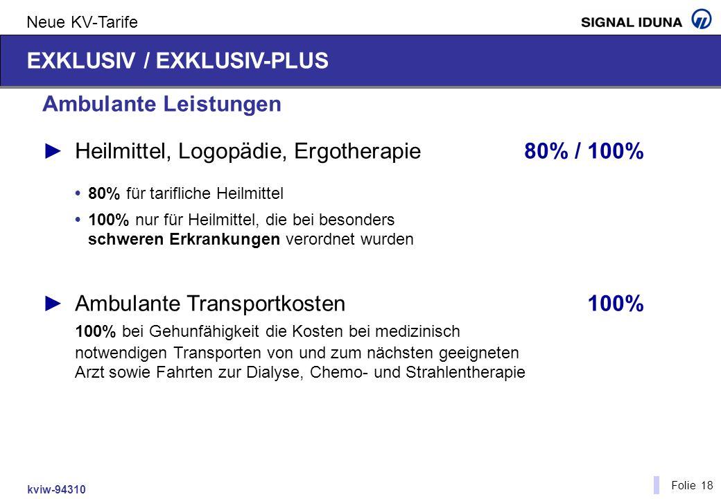 kviw-94310 Folie 18 Neue KV-Tarife Ambulante Leistungen Heilmittel, Logopädie, Ergotherapie80% / 100% 80% für tarifliche Heilmittel 100% nur für Heilm
