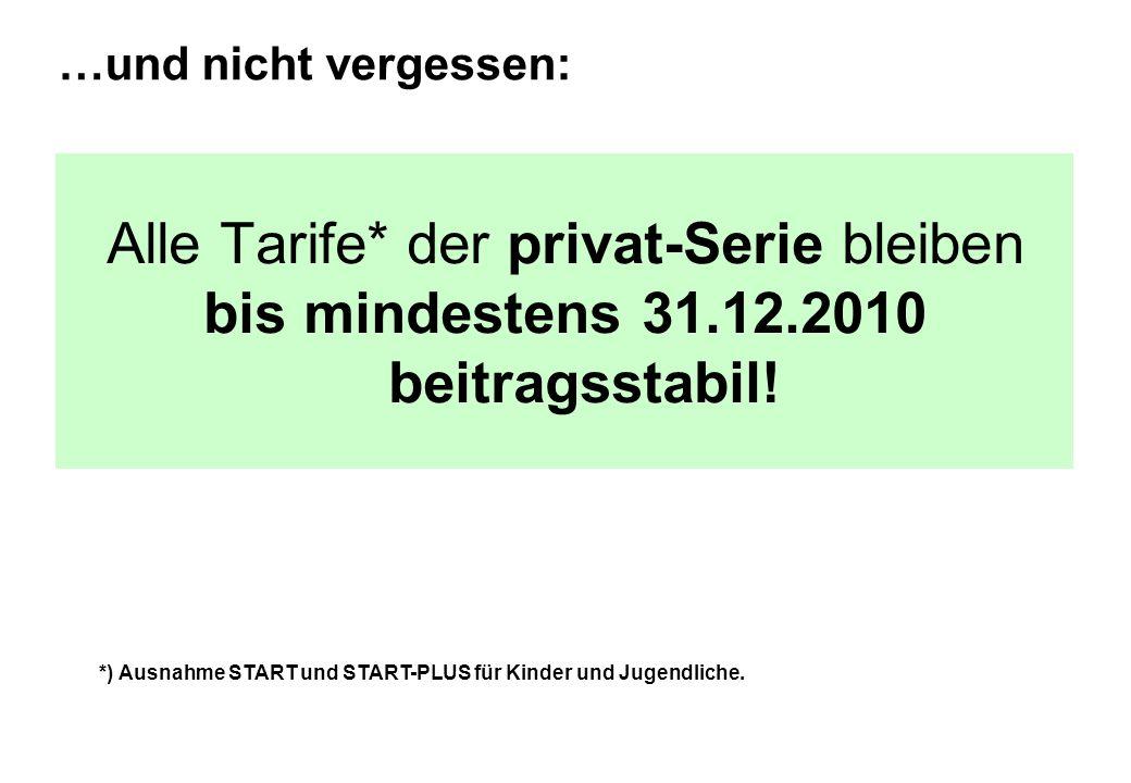 Alle Tarife* der privat-Serie bleiben bis mindestens 31.12.2010 beitragsstabil! …und nicht vergessen: *) Ausnahme START und START-PLUS für Kinder und