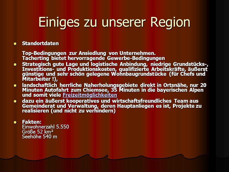 Einiges zu unserer Region Standortdaten Top-Bedingungen zur Ansiedlung von Unternehmen. Tacherting bietet hervorragende Gewerbe-Bedingungen Strategisc