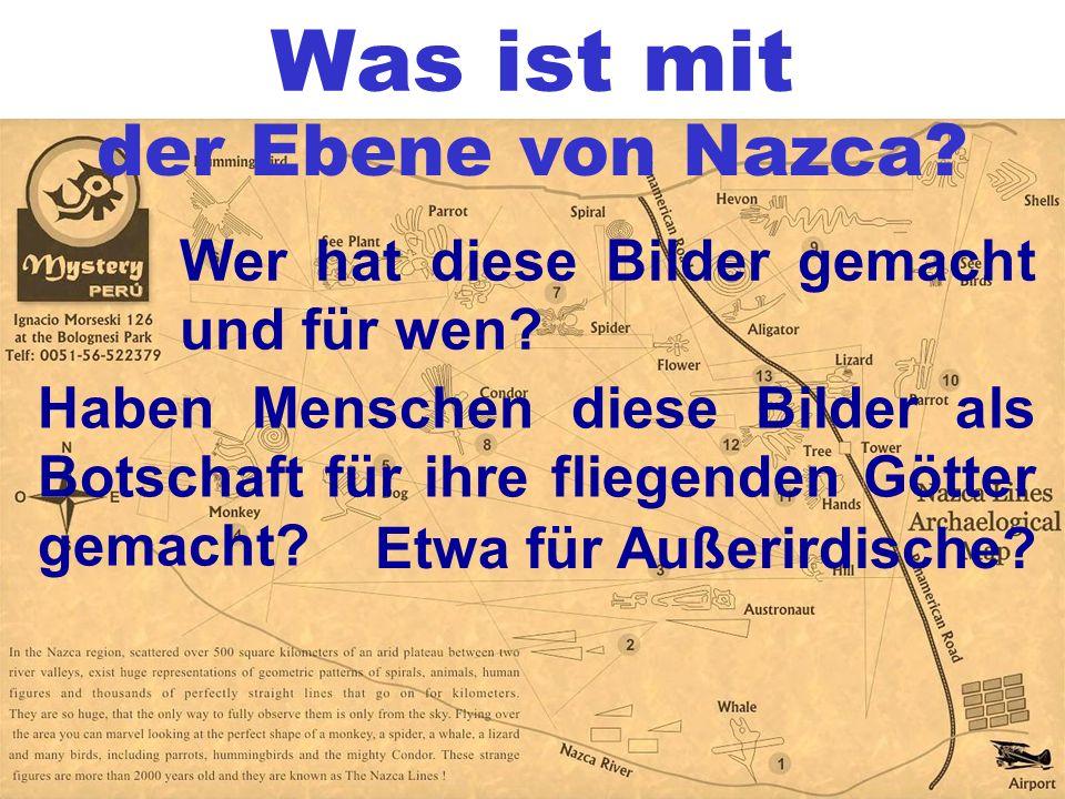 Was ist mit der Ebene von Nazca? Wer hat diese Bilder gemacht und für wen? Haben Menschen diese Bilder als Botschaft für ihre fliegenden Götter gemach