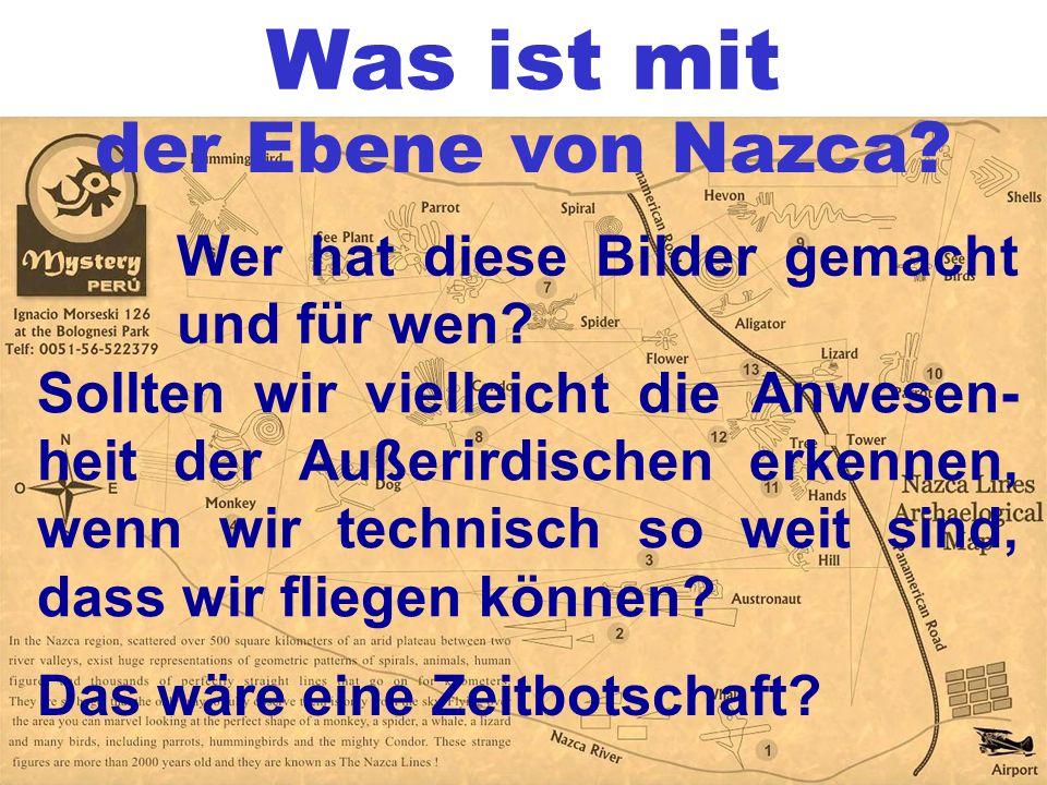 Was ist mit der Ebene von Nazca? Wer hat diese Bilder gemacht und für wen? Sollten wir vielleicht die Anwesen- heit der Außerirdischen erkennen, wenn