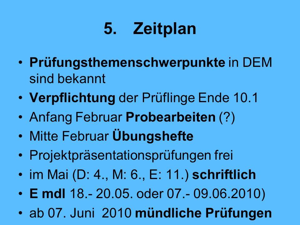 5.Zeitplan Prüfungsthemenschwerpunkte in DEM sind bekannt Verpflichtung der Prüflinge Ende 10.1 Anfang Februar Probearbeiten (?) Mitte Februar Übungshefte Projektpräsentationsprüfungen frei im Mai (D: 4., M: 6., E: 11.) schriftlich E mdl 18.- 20.05.