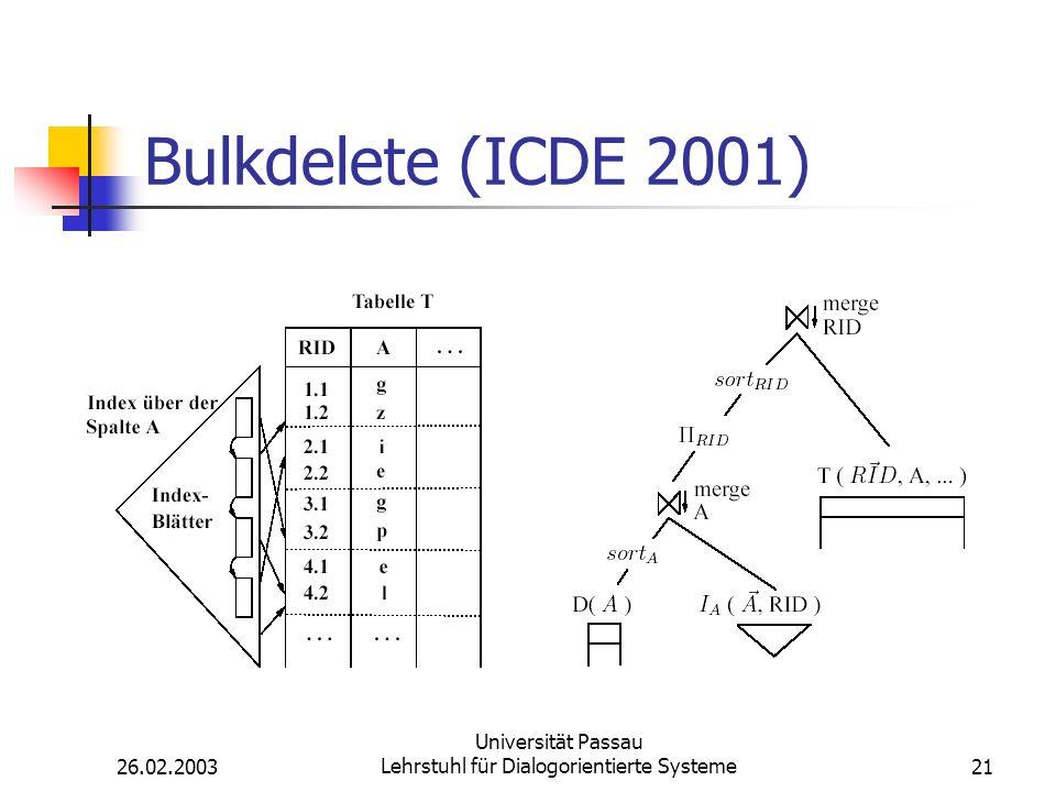 26.02.2003 Universität Passau Lehrstuhl für Dialogorientierte Systeme21 Bulkdelete (ICDE 2001)