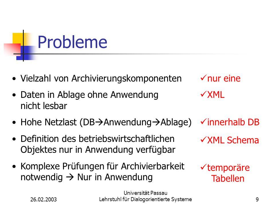 26.02.2003 Universität Passau Lehrstuhl für Dialogorientierte Systeme9 Probleme Vielzahl von Archivierungskomponenten Daten in Ablage ohne Anwendung nicht lesbar Hohe Netzlast (DB Anwendung Ablage) Definition des betriebswirtschaftlichen Objektes nur in Anwendung verfügbar Komplexe Prüfungen für Archivierbarkeit notwendig Nur in Anwendung nur eine XML innerhalb DB XML Schema temporäre Tabellen