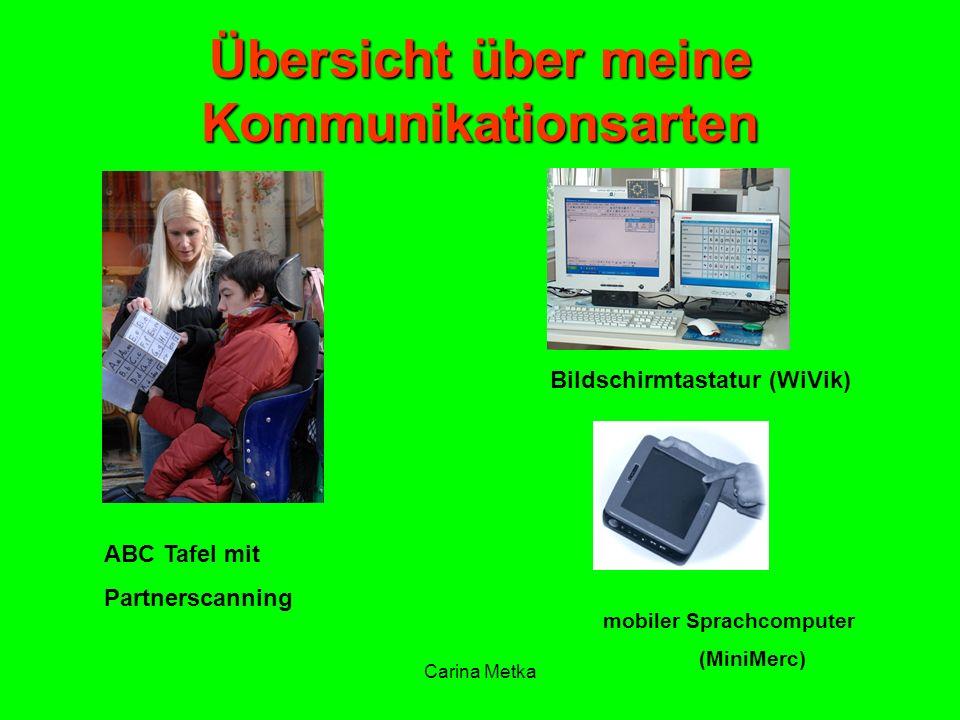 Carina Metka Übersicht über meine Kommunikationsarten ABC Tafel mit Partnerscanning Bildschirmtastatur (WiVik) mobiler Sprachcomputer (MiniMerc)