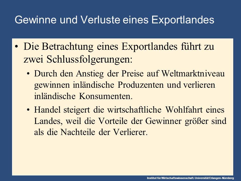 Institut für Wirtschaftswissenschaft. Universität Erlangen-Nürnberg Gewinne und Verluste eines Exportlandes Die Betrachtung eines Exportlandes führt z