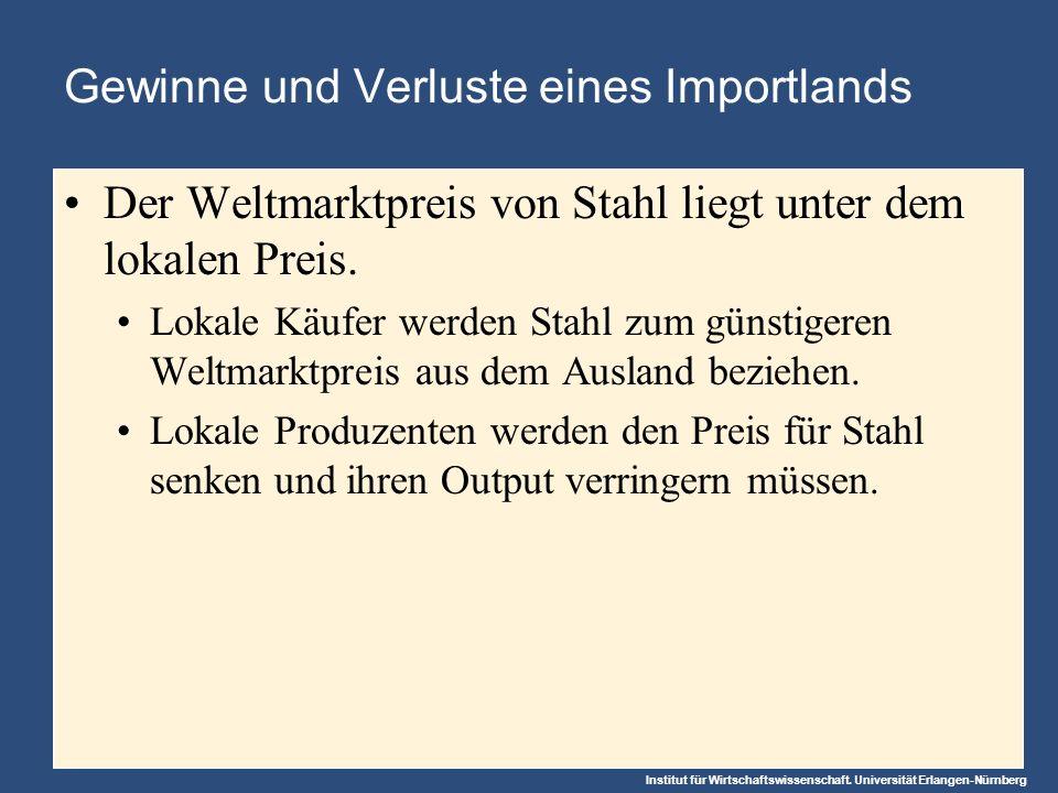 Institut für Wirtschaftswissenschaft. Universität Erlangen-Nürnberg Gewinne und Verluste eines Importlands Der Weltmarktpreis von Stahl liegt unter de
