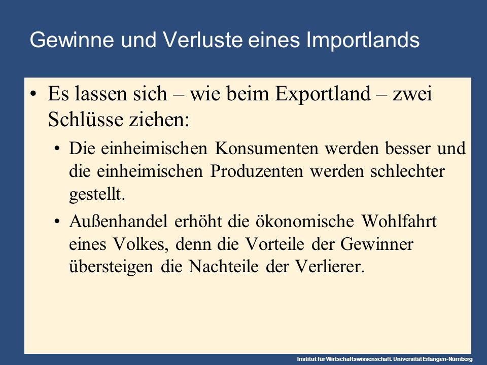 Institut für Wirtschaftswissenschaft. Universität Erlangen-Nürnberg Gewinne und Verluste eines Importlands Es lassen sich – wie beim Exportland – zwei