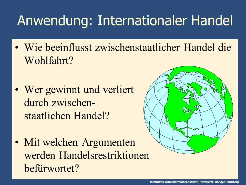 Abbildung 5: Wie Freihandel die Wohlfahrt eines Importlandes verändert C B A Stahl- preis 0 Stahlmenge Inlandsangebot Inlandsnachfrage Konsumentenrente ohne Außenhandel Produzentenrente ohne Außenhandel Preis ohne Außenhandel Preis mit Außenhandel Weltmarktpreis