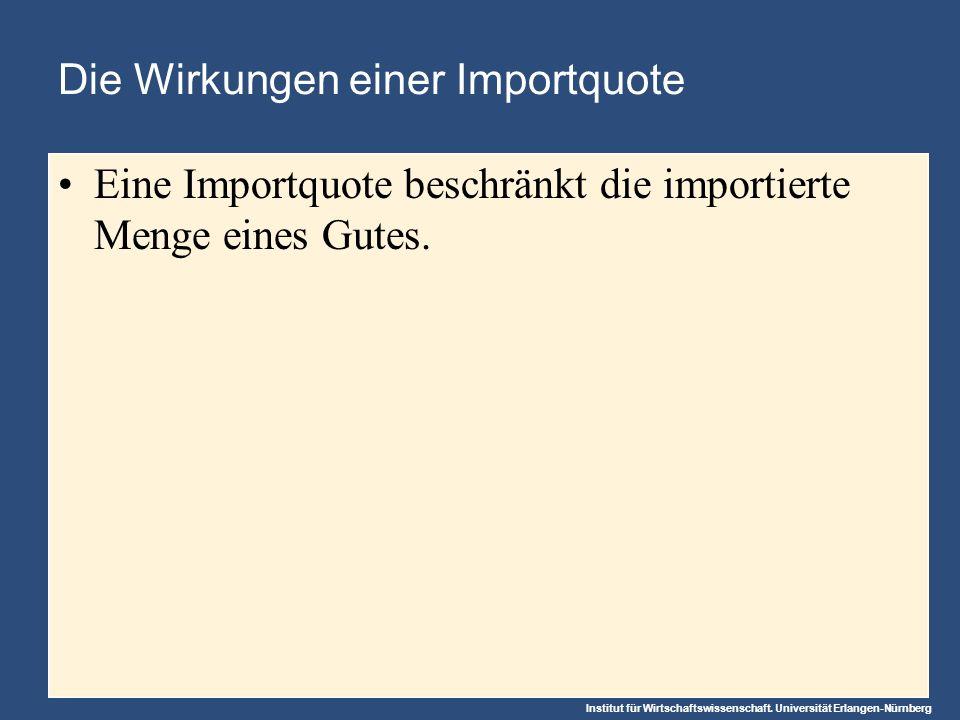 Institut für Wirtschaftswissenschaft. Universität Erlangen-Nürnberg Die Wirkungen einer Importquote Eine Importquote beschränkt die importierte Menge