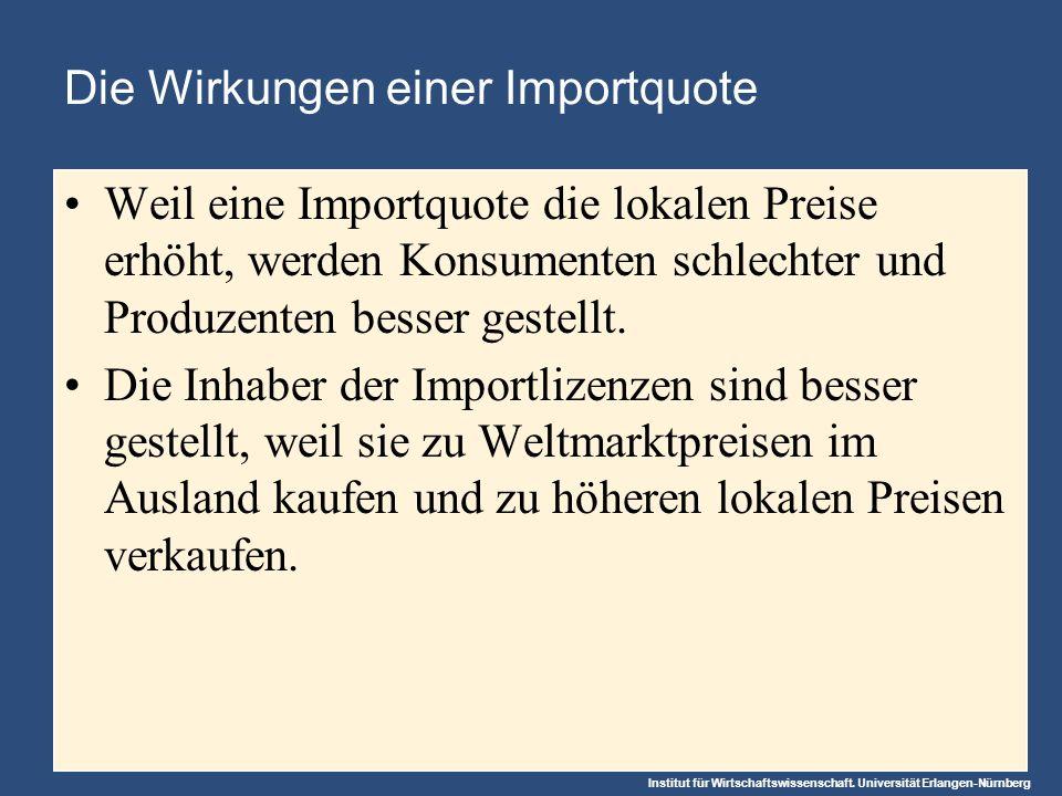 Institut für Wirtschaftswissenschaft. Universität Erlangen-Nürnberg Die Wirkungen einer Importquote Weil eine Importquote die lokalen Preise erhöht, w