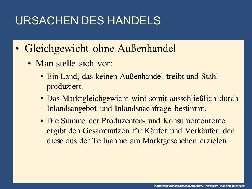 Institut für Wirtschaftswissenschaft. Universität Erlangen-Nürnberg URSACHEN DES HANDELS Gleichgewicht ohne Außenhandel Man stelle sich vor: Ein Land,