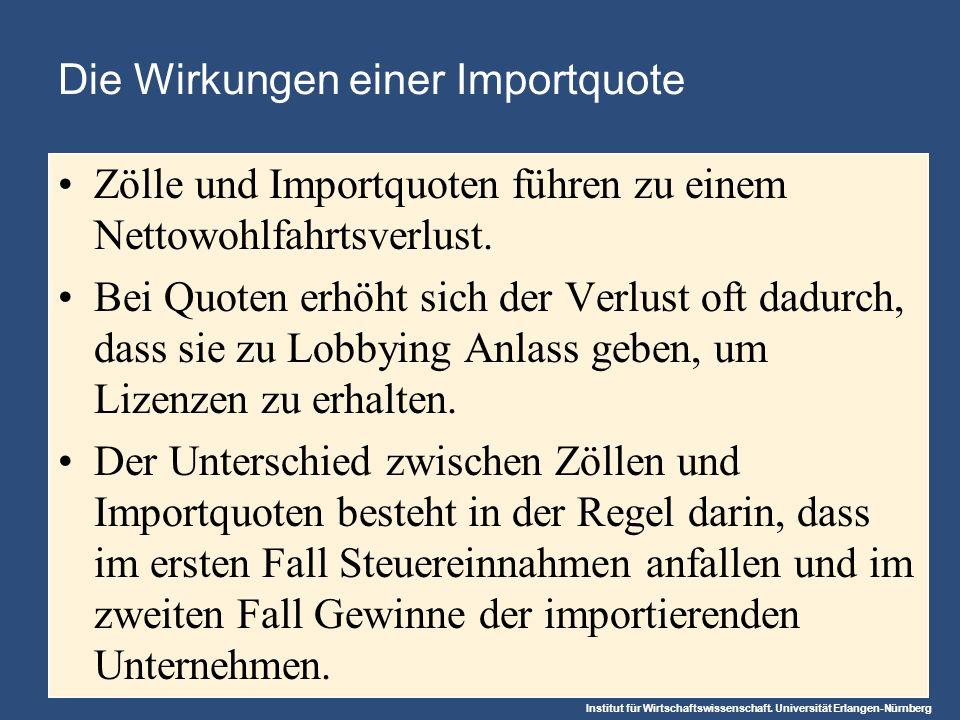 Institut für Wirtschaftswissenschaft. Universität Erlangen-Nürnberg Die Wirkungen einer Importquote Zölle und Importquoten führen zu einem Nettowohlfa