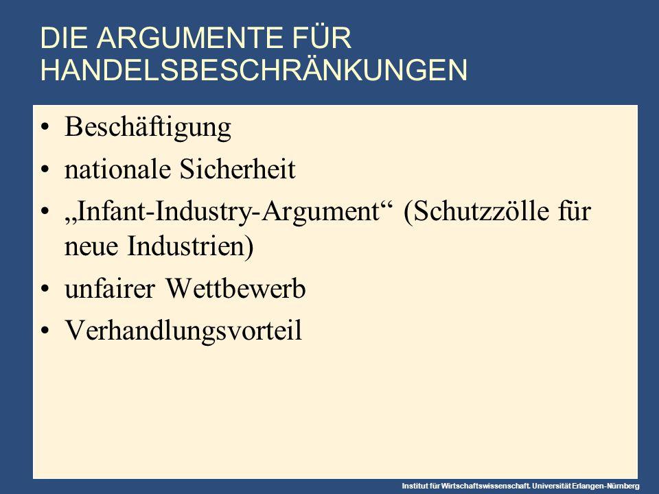 Institut für Wirtschaftswissenschaft. Universität Erlangen-Nürnberg DIE ARGUMENTE FÜR HANDELSBESCHRÄNKUNGEN Beschäftigung nationale Sicherheit Infant-