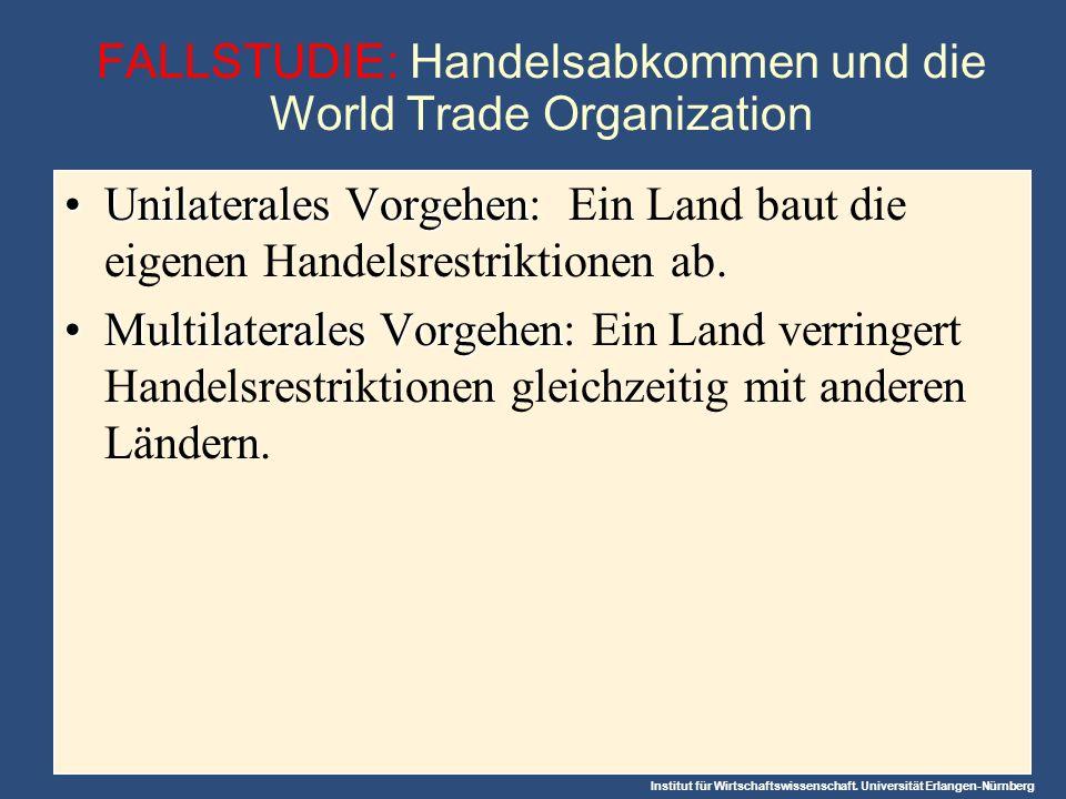 Institut für Wirtschaftswissenschaft. Universität Erlangen-Nürnberg FALLSTUDIE: Handelsabkommen und die World Trade Organization Unilaterales Vorgehen