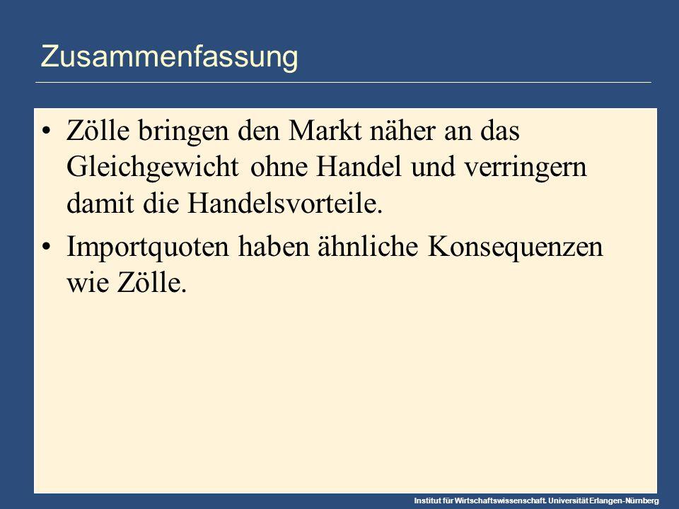 Institut für Wirtschaftswissenschaft. Universität Erlangen-Nürnberg Zusammenfassung Zölle bringen den Markt näher an das Gleichgewicht ohne Handel und