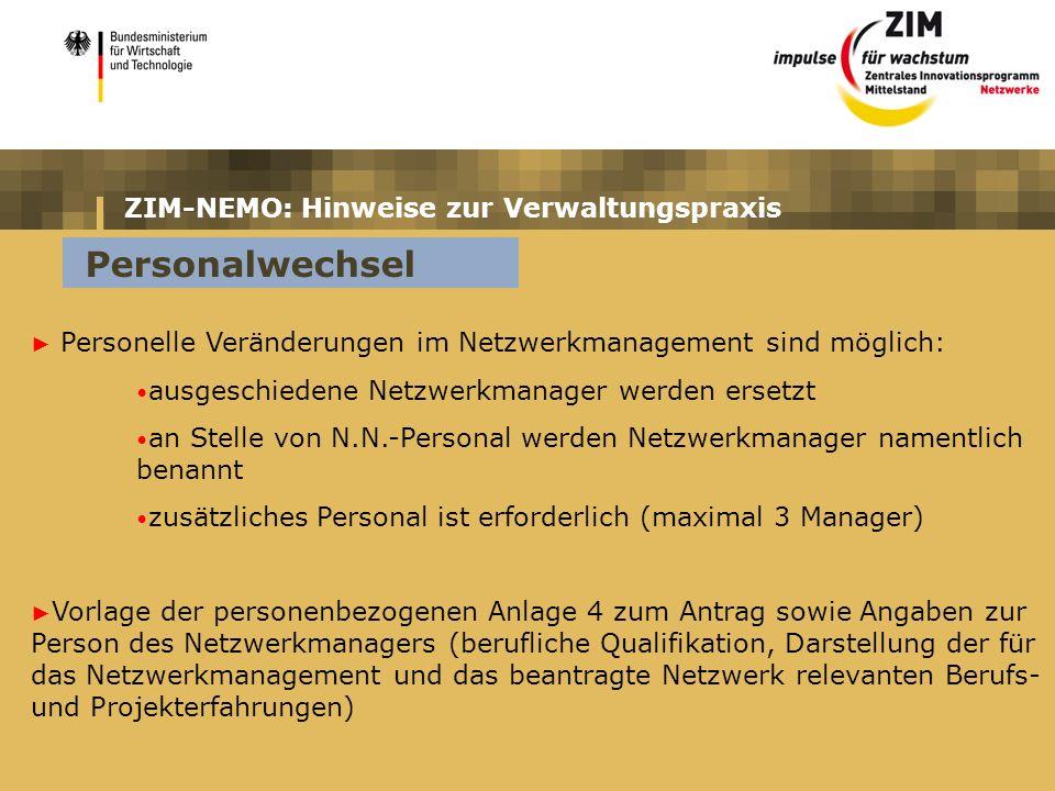 ZIM-NEMO: Hinweise zur Verwaltungspraxis Personelle Veränderungen im Netzwerkmanagement sind möglich: ausgeschiedene Netzwerkmanager werden ersetzt an