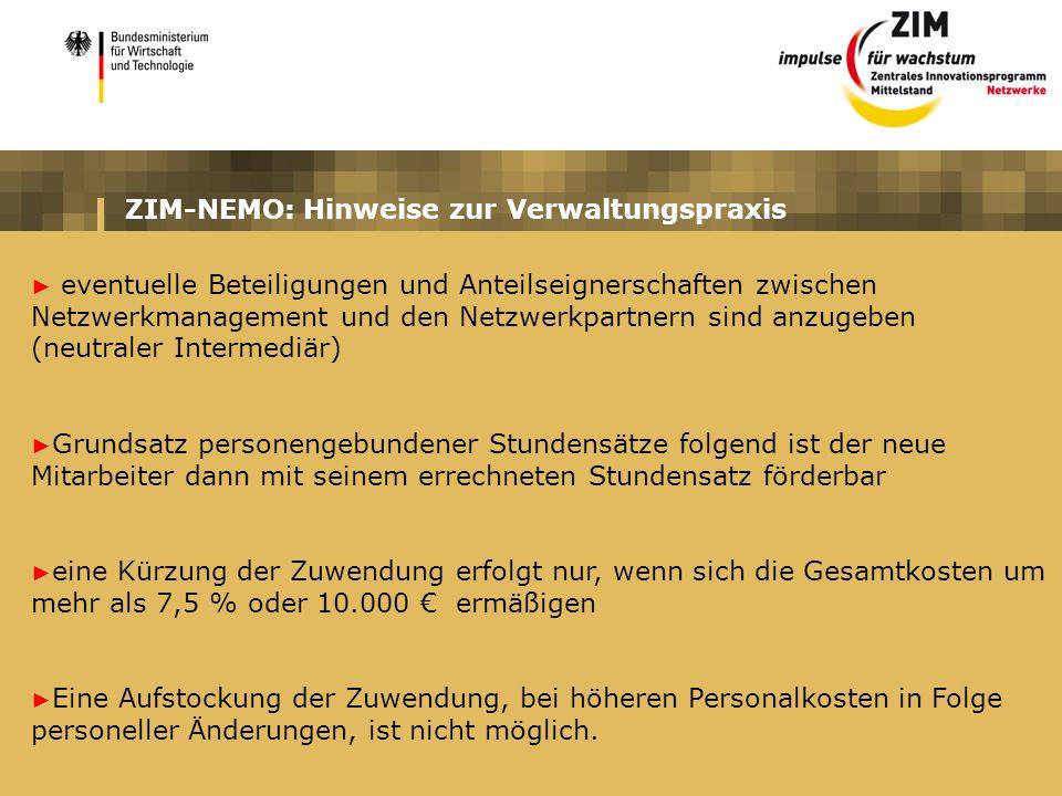 ZIM-NEMO: Hinweise zur Verwaltungspraxis eventuelle Beteiligungen und Anteilseignerschaften zwischen Netzwerkmanagement und den Netzwerkpartnern sind
