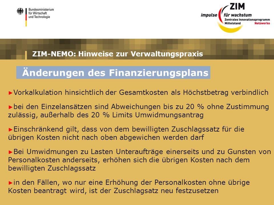 ZIM-NEMO: Hinweise zur Verwaltungspraxis Vorkalkulation hinsichtlich der Gesamtkosten als Höchstbetrag verbindlich bei den Einzelansätzen sind Abweich