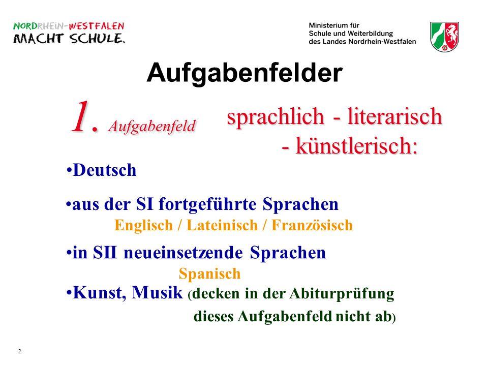 Aufgabenfelder sprachlich - literarisch - künstlerisch: - künstlerisch: Kunst, Musik ( decken in der Abiturprüfung dieses Aufgabenfeld nicht ab ) 1. A