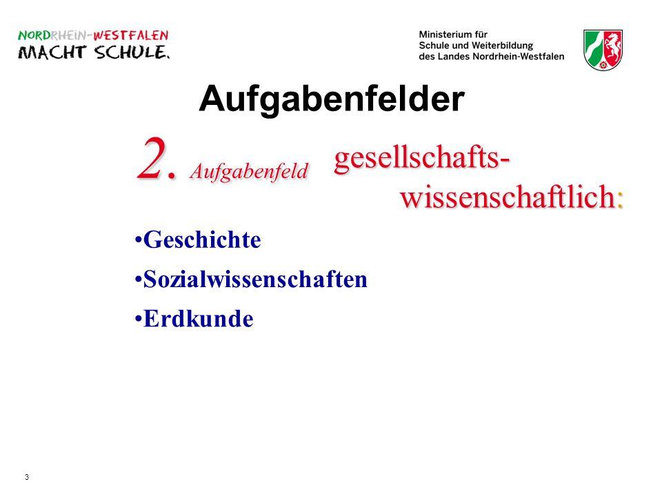 gesellschafts- wissenschaftlich: Geschichte 2. Aufgabenfeld Erdkunde Sozialwissenschaften Aufgabenfelder 3