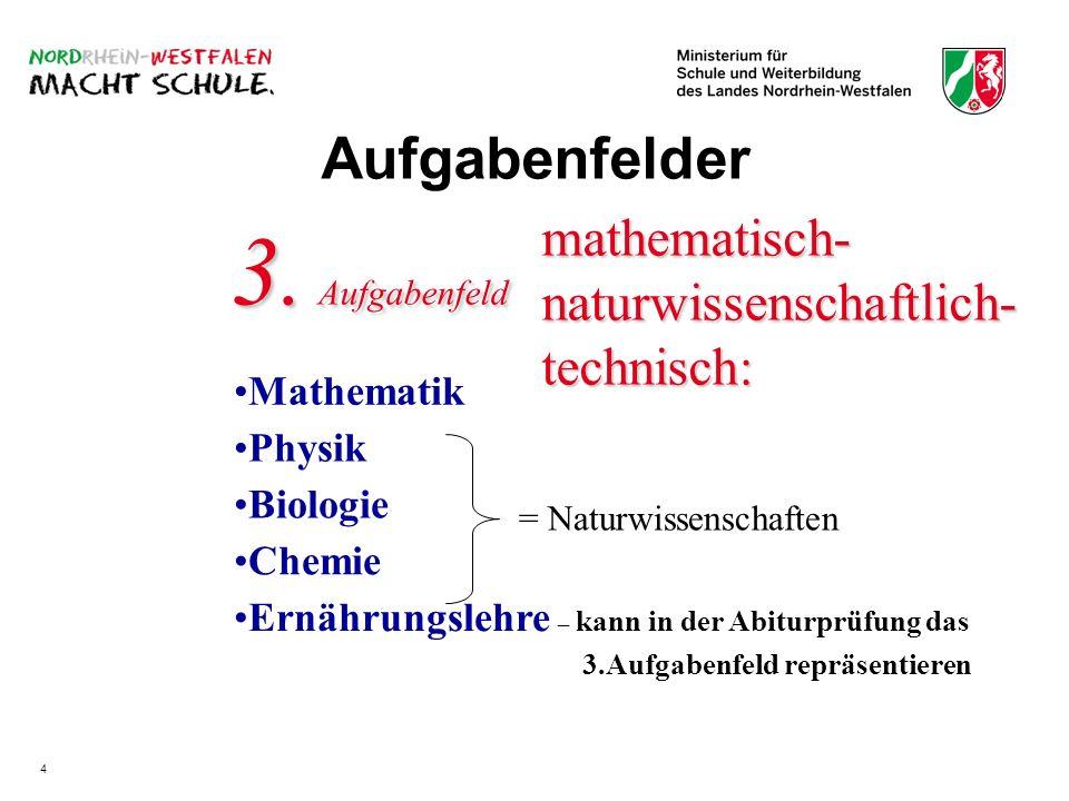 mathematisch- naturwissenschaftlich- technisch: Mathematik 3. Aufgabenfeld Physik Biologie Chemie Ernährungslehre – kann in der Abiturprüfung das 3.Au