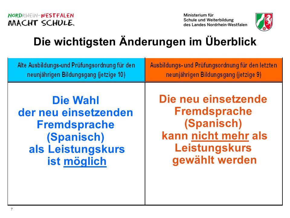 Die wichtigsten Änderungen im Überblick Die Wahl der neu einsetzenden Fremdsprache (Spanisch) als Leistungskurs ist möglich Die neu einsetzende Fremdsprache (Spanisch) kann nicht mehr als Leistungskurs gewählt werden 7