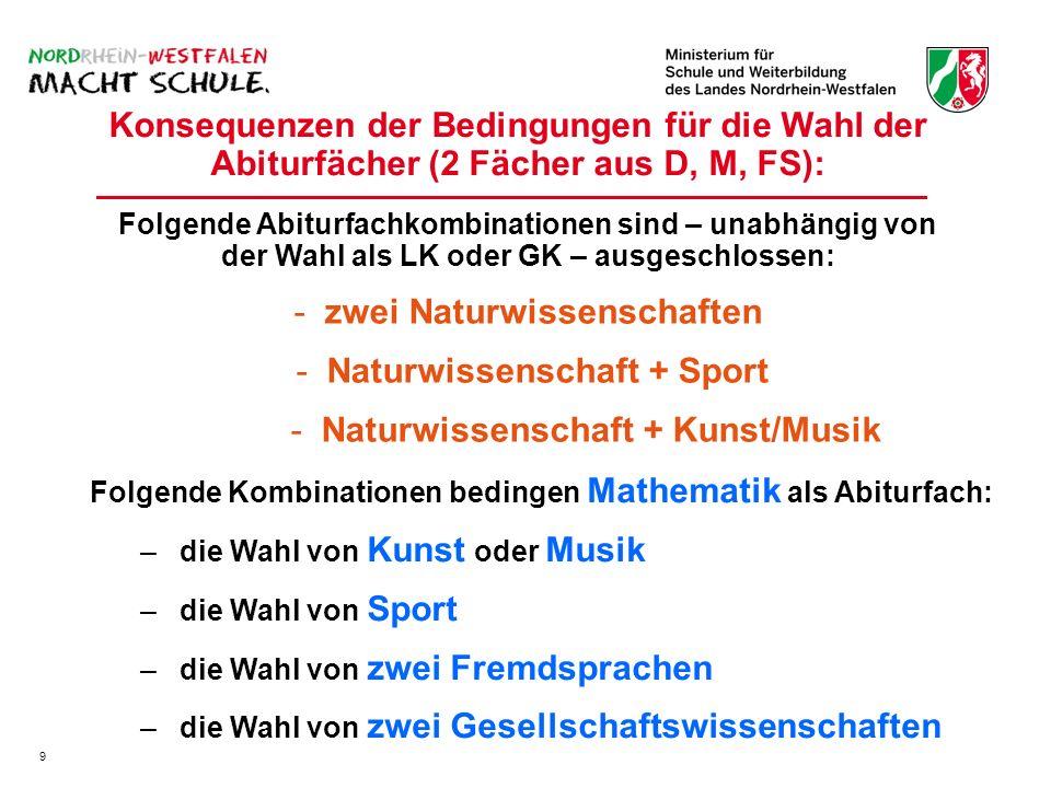 Konsequenzen der Bedingungen für die Wahl der Abiturfächer (2 Fächer aus D, M, FS): Folgende Kombinationen bedingen Mathematik als Abiturfach: – –die