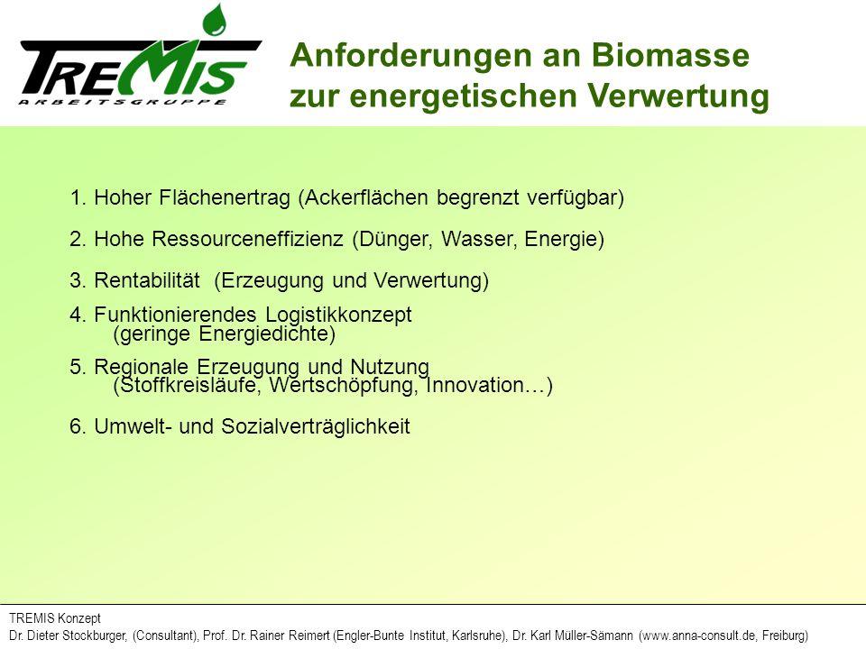 Anforderungen an Biomasse zur energetischen Verwertung TREMIS Konzept Dr. Dieter Stockburger, (Consultant), Prof. Dr. Rainer Reimert (Engler-Bunte Ins