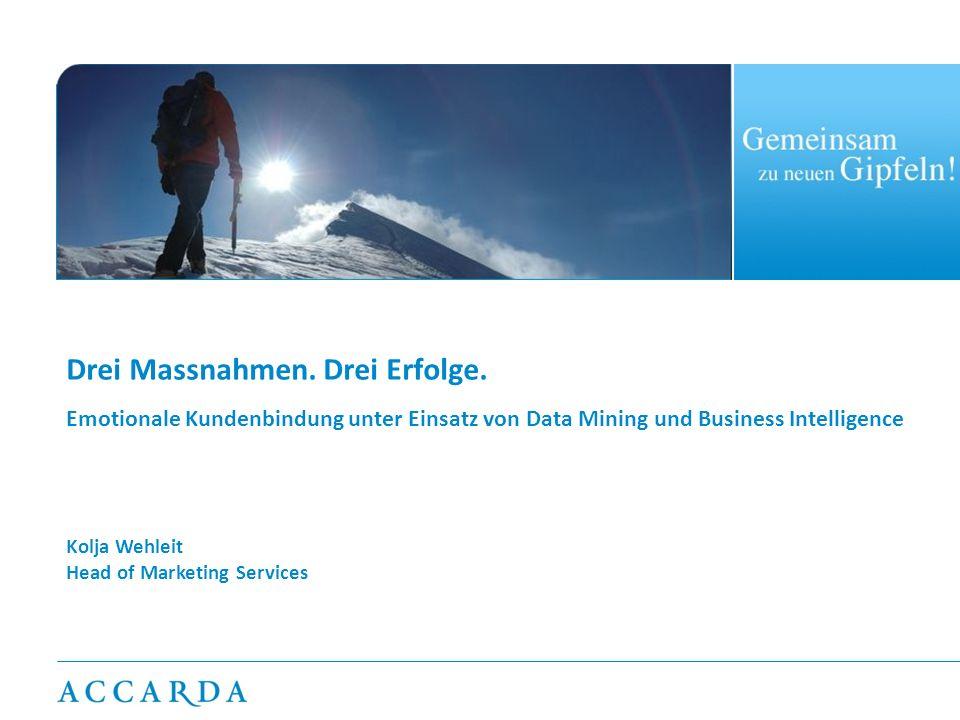 Drei Massnahmen. Drei Erfolge. Emotionale Kundenbindung unter Einsatz von Data Mining und Business Intelligence Kolja Wehleit Head of Marketing Servic