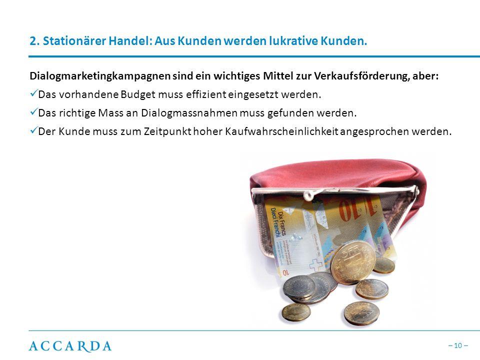 – 10 – 2.Stationärer Handel: Aus Kunden werden lukrative Kunden.
