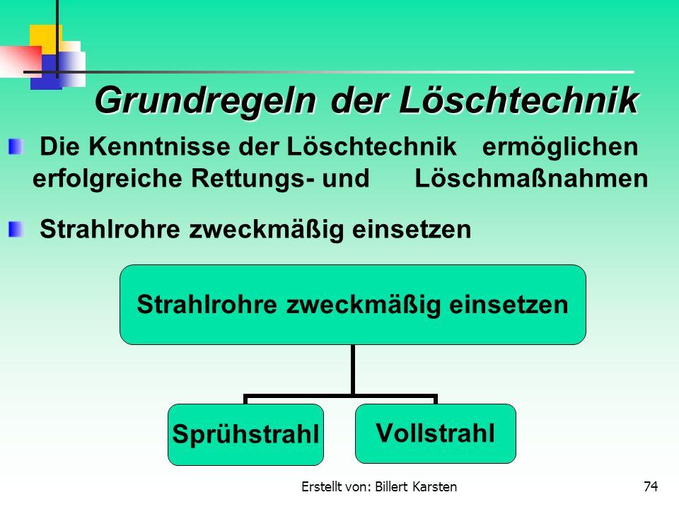 Erstellt von: Billert Karsten74 Grundregeln der Löschtechnik Die Kenntnisse der Löschtechnik ermöglichen erfolgreiche Rettungs- und Löschmaßnahmen Str