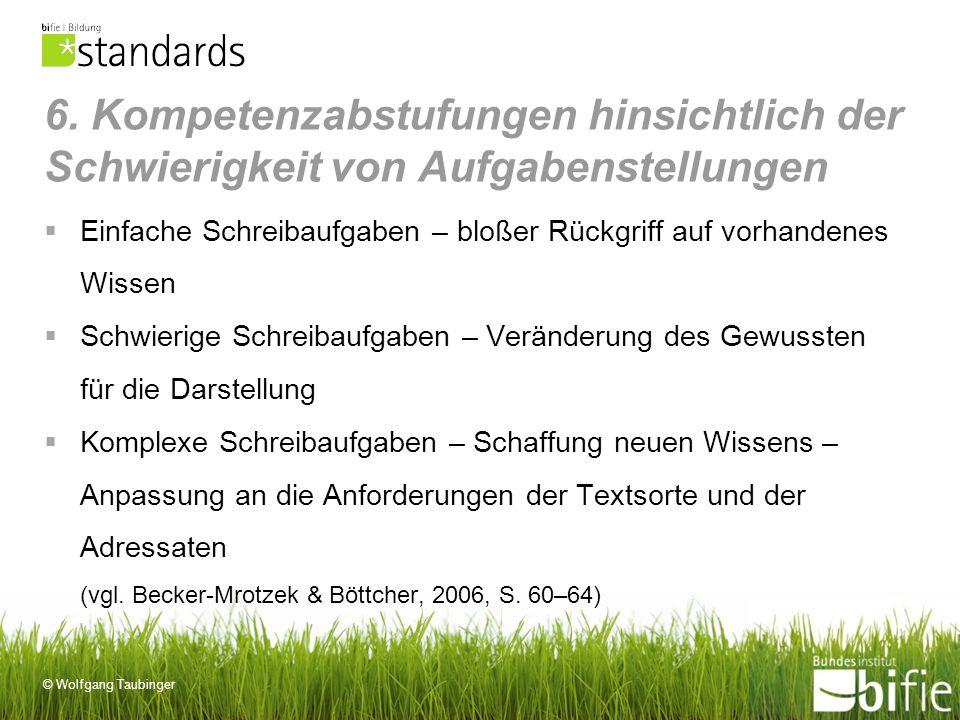 © Wolfgang Taubinger 6. Kompetenzabstufungen hinsichtlich der Schwierigkeit von Aufgabenstellungen Einfache Schreibaufgaben – bloßer Rückgriff auf vor