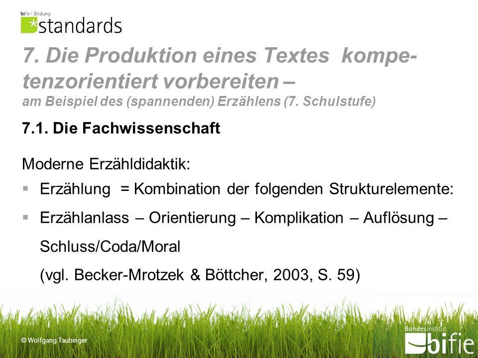 © Wolfgang Taubinger 7. Die Produktion eines Textes kompe- tenzorientiert vorbereiten – am Beispiel des (spannenden) Erzählens (7. Schulstufe) 7.1. Di