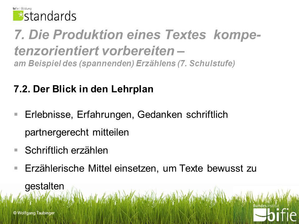 © Wolfgang Taubinger 7. Die Produktion eines Textes kompe- tenzorientiert vorbereiten – am Beispiel des (spannenden) Erzählens (7. Schulstufe) 7.2. De