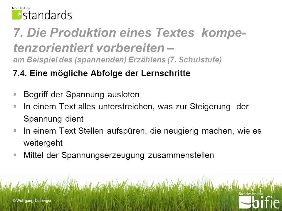 © Wolfgang Taubinger 7. Die Produktion eines Textes kompe- tenzorientiert vorbereiten – am Beispiel des (spannenden) Erzählens (7. Schulstufe) 7.4. Ei